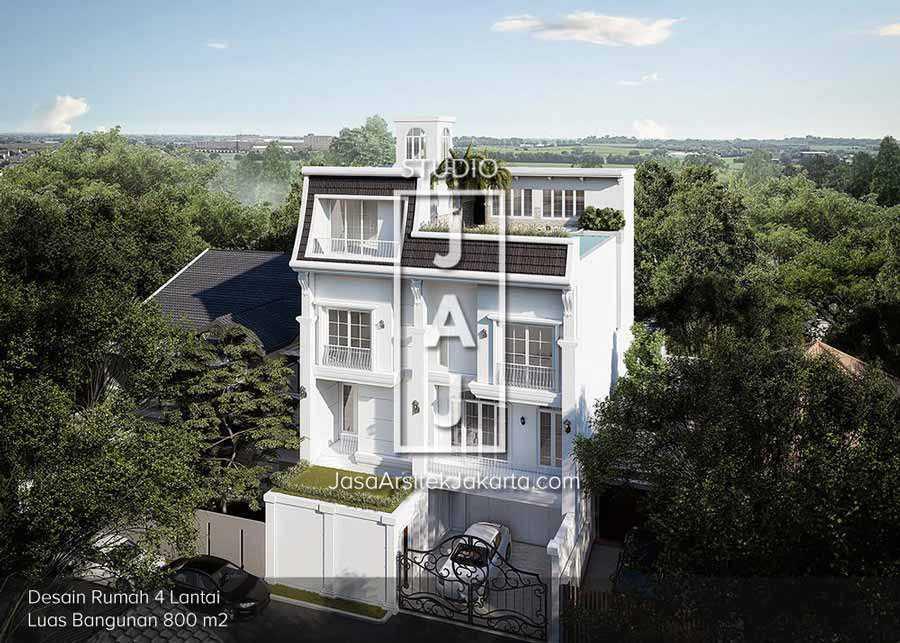 Photo Rumah Mewah 4 Lantai Bergaya Mediterania Jasa Arsitek Jakarta Rumah Mewah 4 Lantai Bergaya Mediterania 1 Desain Arsitek Oleh Studio Jaj Arsitag