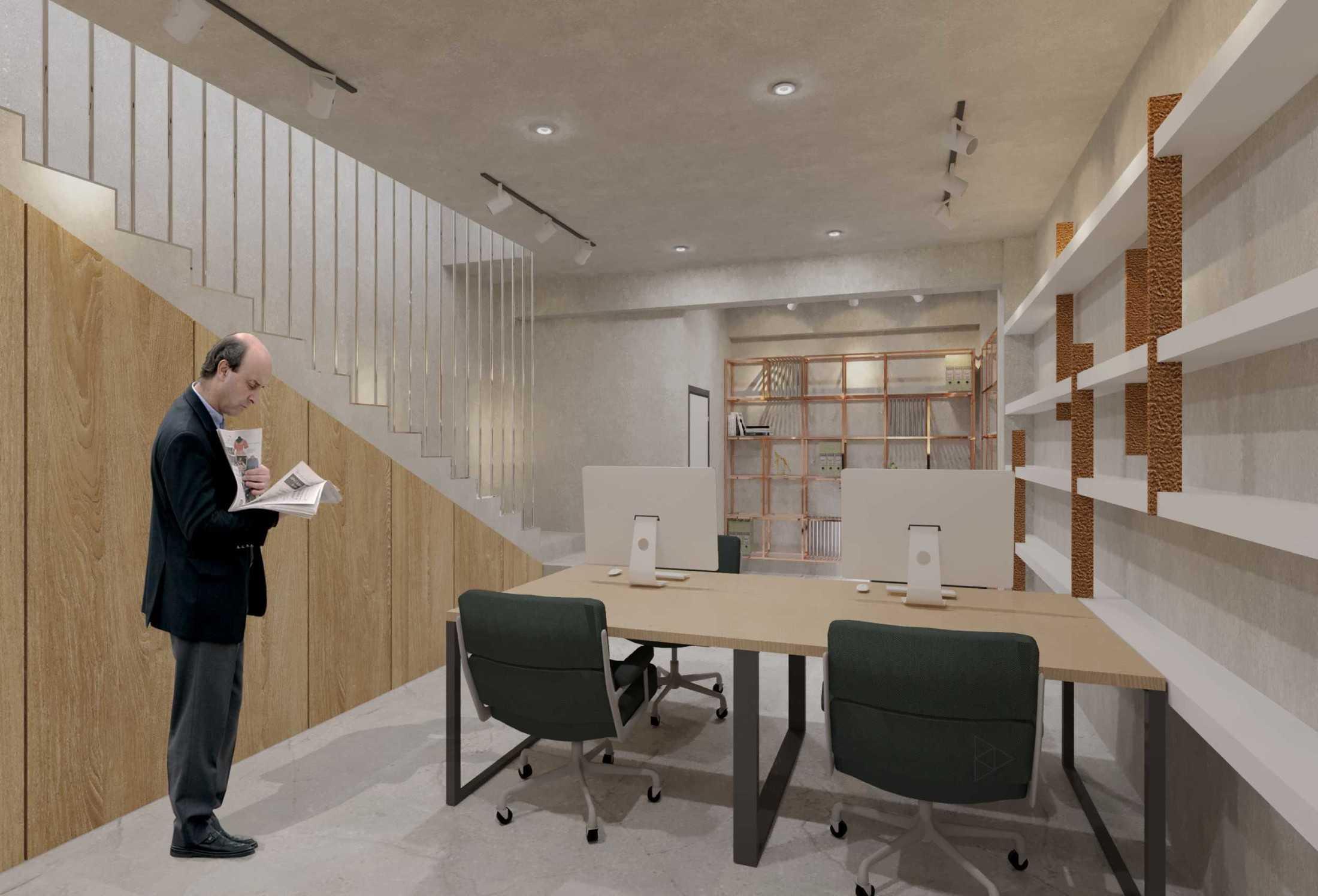 Foto inspirasi ide desain ruang kerja industrial Staff area- 1st floor oleh TIES Design & Build di Arsitag