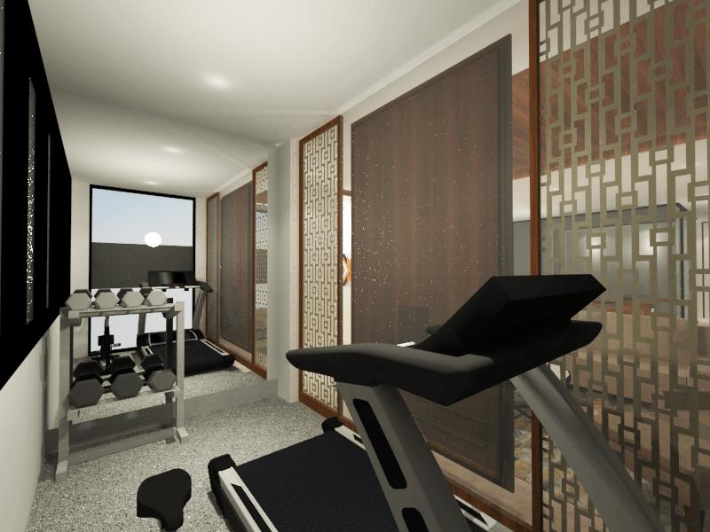 Foto inspirasi ide desain gym tropis Tms-creative-surabaya-residence oleh TMS Creative di Arsitag