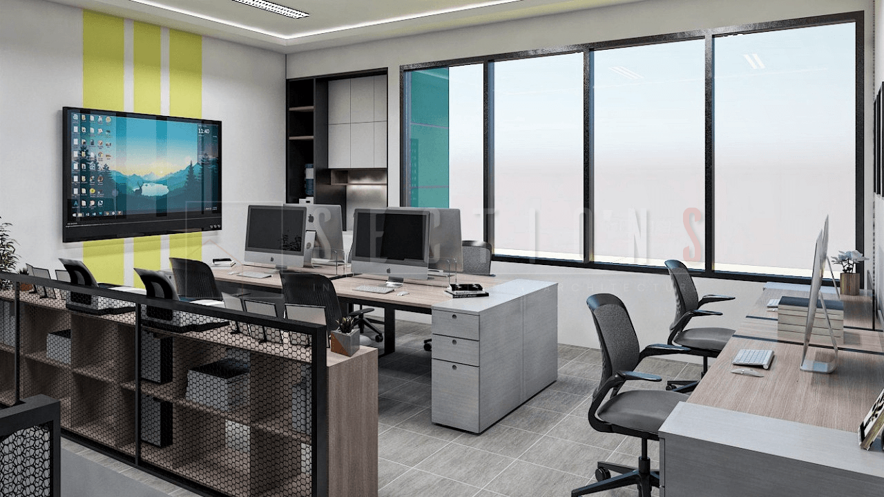 Sections Design & Architecture Textile Company Office Project (Office & Working Area) Tangerang, Kota Tangerang, Banten, Indonesia Tangerang, Kota Tangerang, Banten, Indonesia Sections-Design-Architecture-Contemporary-Lobby-Minimalist-Workspace  92288