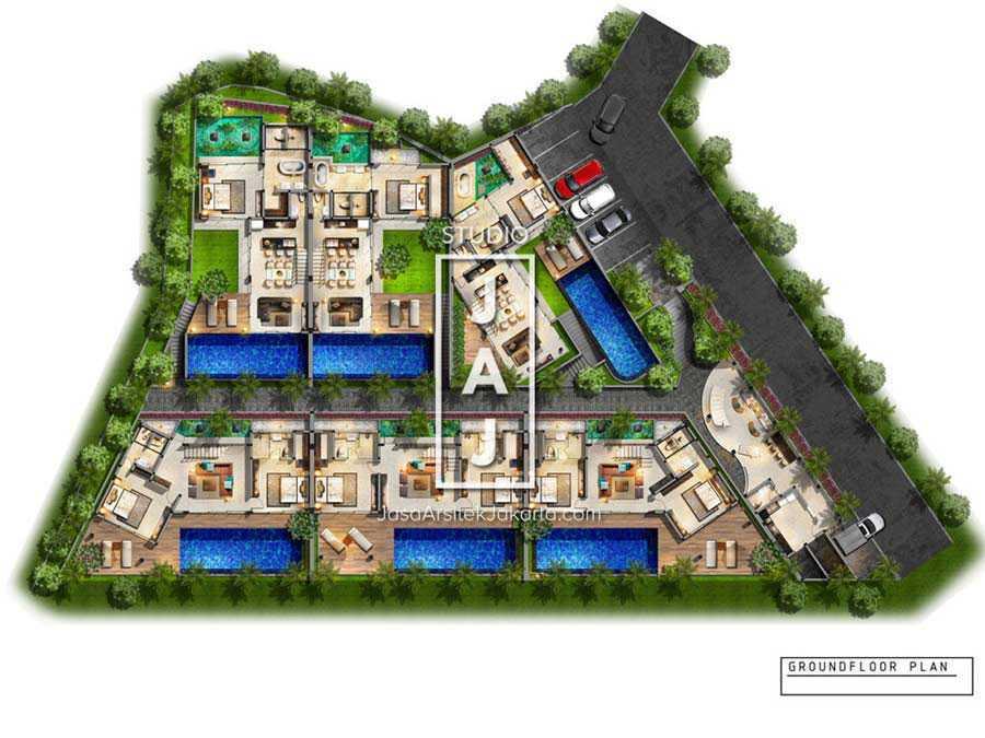 Studio Jaj Jasa Arsitek Bali, Villa Kampi Kuta Selatan, South Kuta, Badung Regency, Bali, Indonesia Kuta Selatan, South Kuta, Badung Regency, Bali, Indonesia Denah Villa Kampi  87505