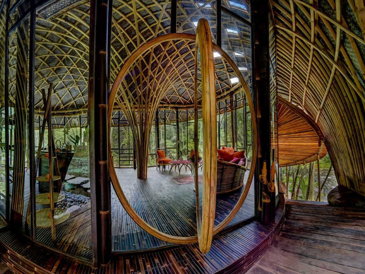 Agung Budi Raharsa | Architecture & Engineering Riverbend Bamboo House - Bali Bali, Indonesia Bali, Indonesia Interior View Tropical 88707