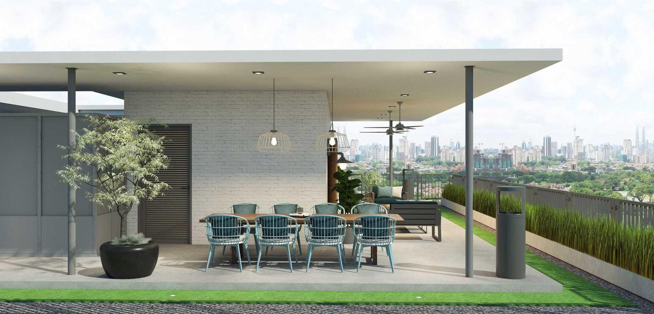 Foto inspirasi ide desain atap industrial Rooftop lounge area oleh Abigail Marcella di Arsitag