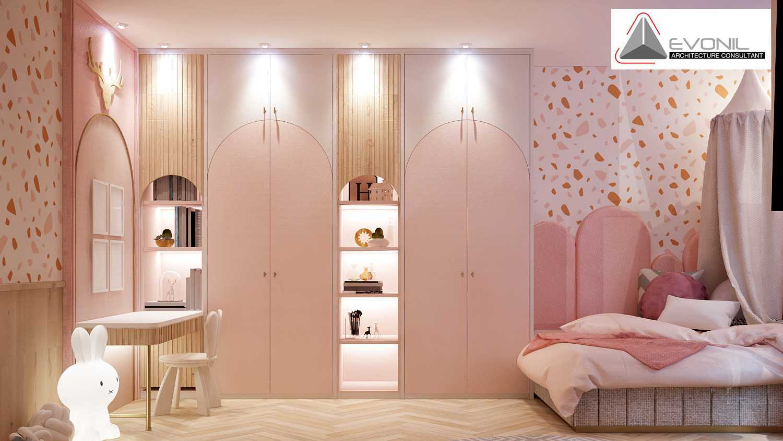 Foto inspirasi ide desain kamar tidur anak minimalis Children bedroom residence grisenda evonil architecture oleh Evonil Architecture di Arsitag