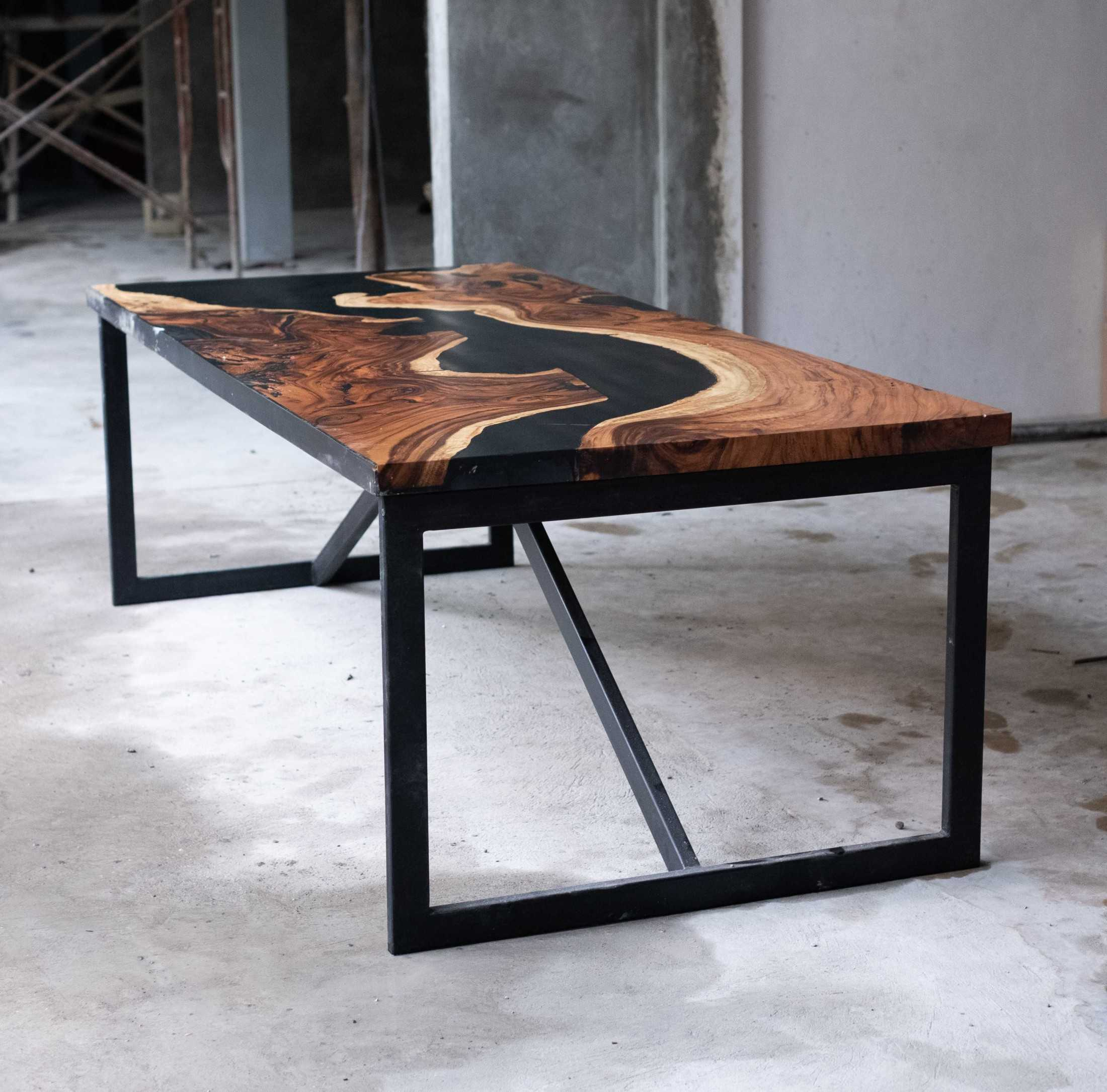 Rootslab Furniture & Craft Project Bekasi, Kota Bks, Jawa Barat, Indonesia Bekasi, Kota Bks, Jawa Barat, Indonesia Rootslab's Tamarind Wood (Trembesi) & Epoxy Resin River Table Industrial 113011