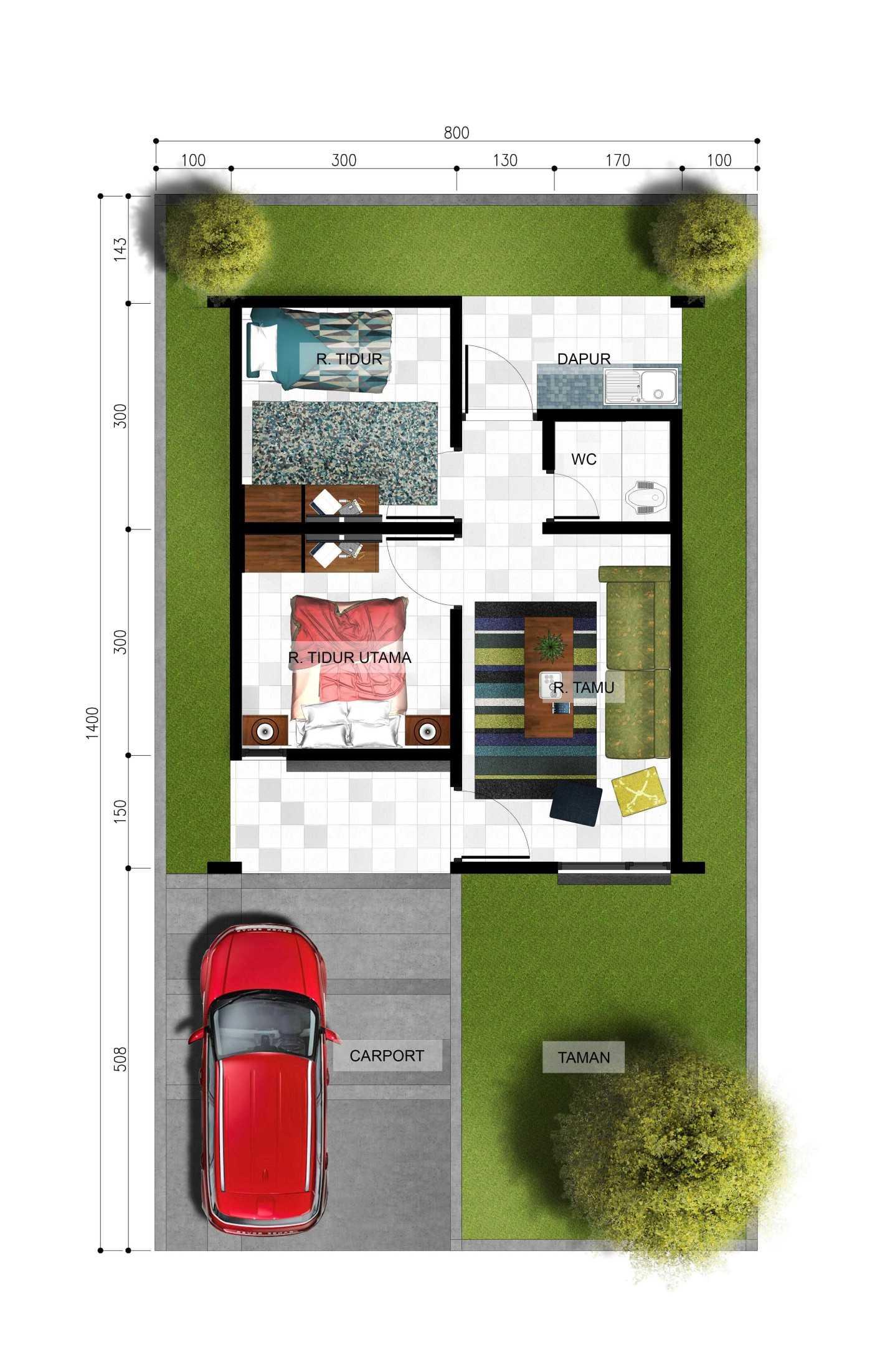 Gubah Ruang Aa Residence Kabupaten Manokwari, Papua Bar., Indonesia Kabupaten Manokwari, Papua Bar., Indonesia Denah Tipe 36 Modern 59300
