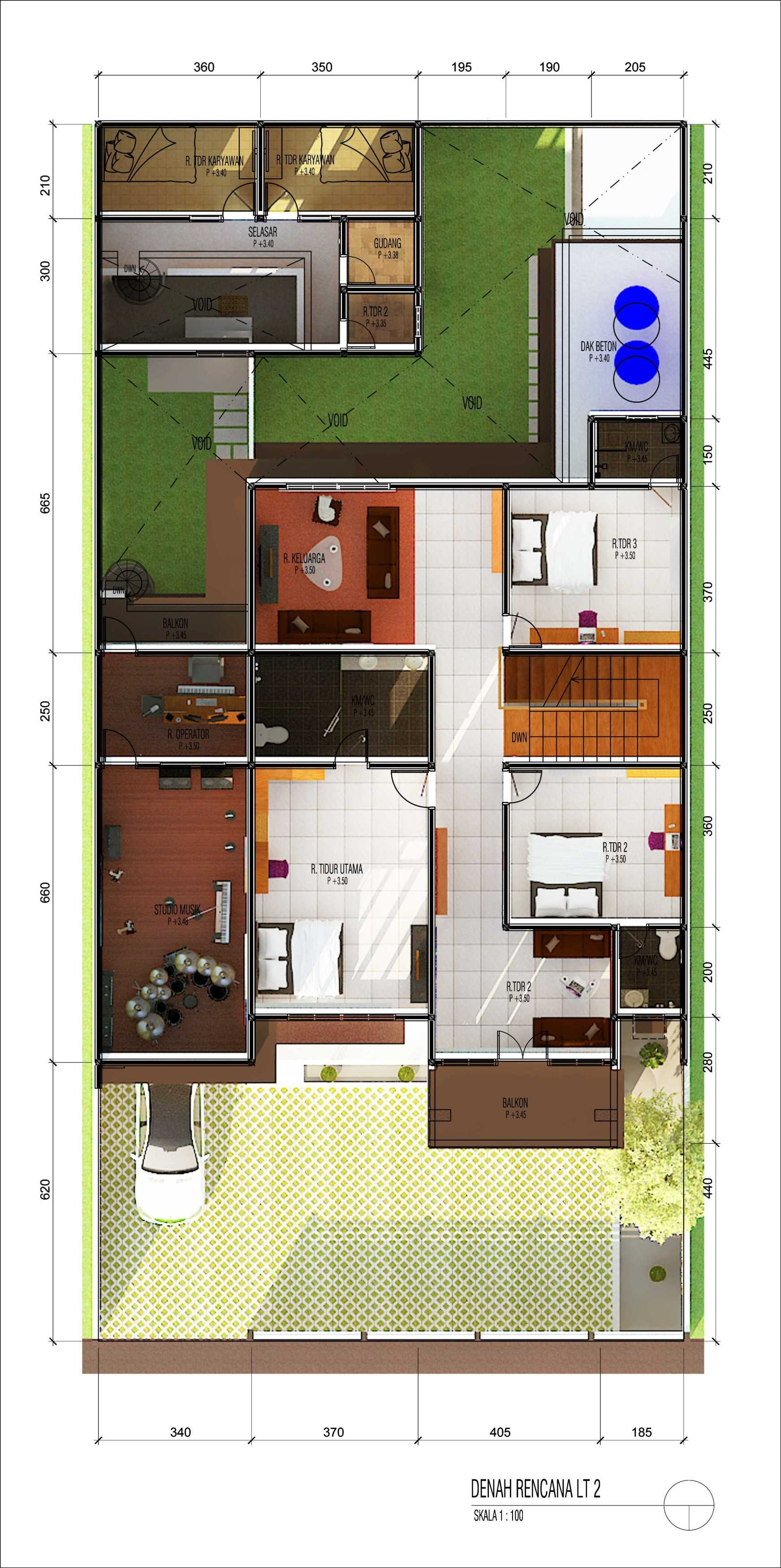 Archdesignbuild7 Rumah Tinggal 2 Lantai ( Minen )  Jl. Alfa Ii, Cigadung, Bandung Jl. Alfa Ii, Cigadung, Bandung Denah-Lt-Dua-Colour Tropis  20139