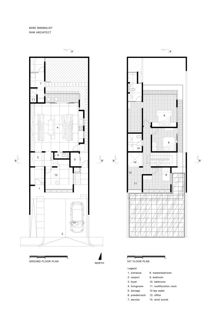 Raw Architecture Bare Minimalist Jakarta, Indonesia Jakarta, Indonesia Plan Section Elevation   1546
