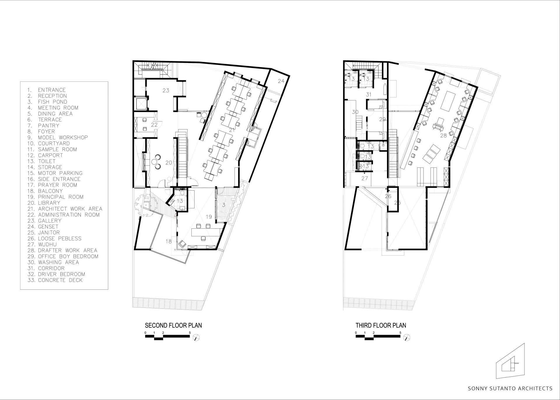 Sonny Sutanto Architects Sonny Sutanto Architects New Office Sunter, North Jakarta, Indonesia Sunter, North Jakarta, Indonesia 2Nd And 3Rd Floor Plan   2088