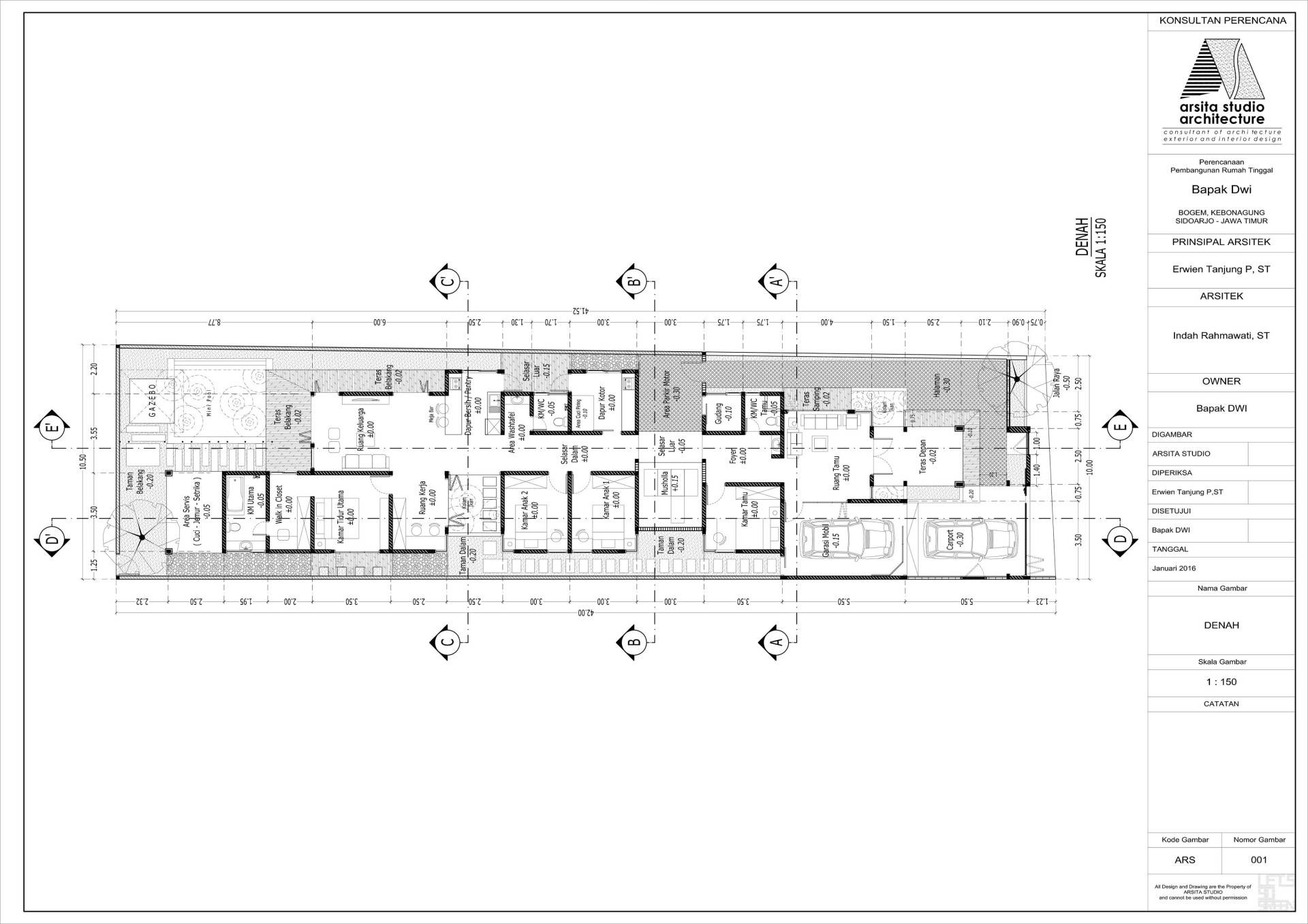 Arsita Studio Architecture D Private House Sidoarjo, Jawa Timur Sidoarjo, Jawa Timur Foot-Print-Layout   3297