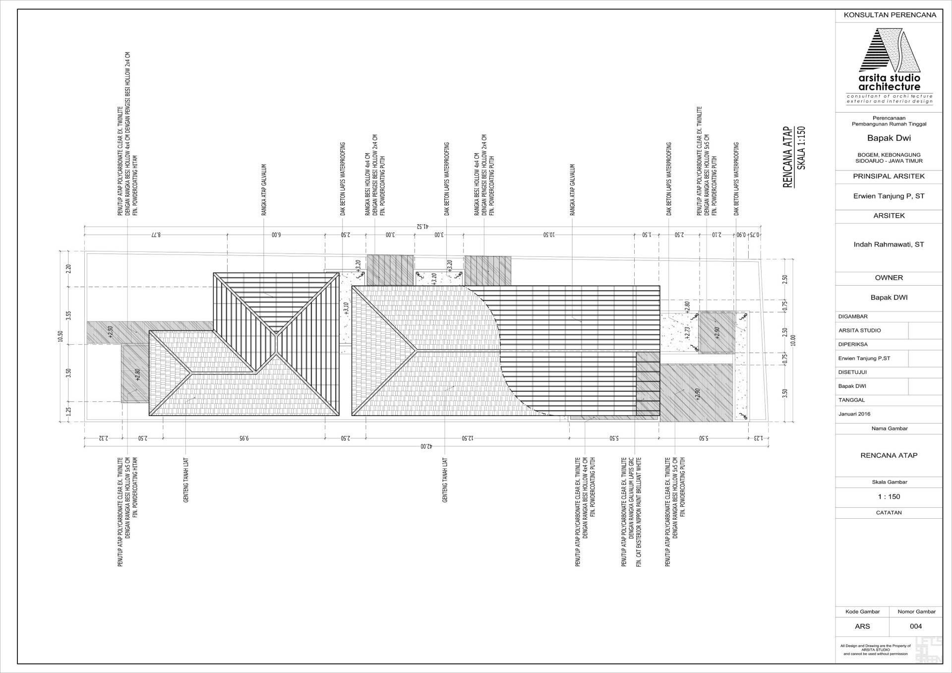 Arsita Studio Architecture D Private House Sidoarjo, Jawa Timur Sidoarjo, Jawa Timur Roof   3299