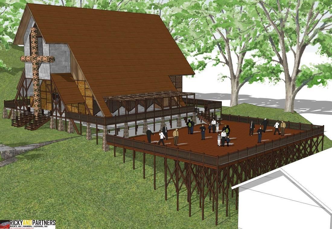 Rickyandpartners Architect Studio Ambalau Church At Sintang West Kalimantan, Indonesia West Kalimantan, Indonesia Plaza-Perspective- Tropis  3340