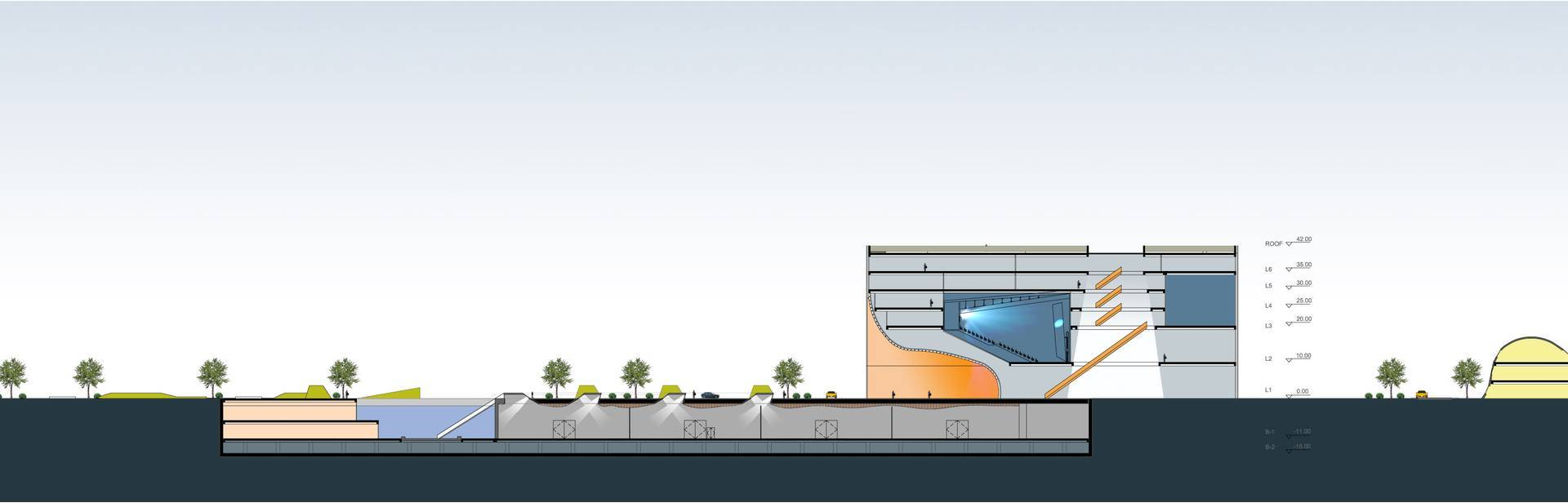 Tau Architect Animation Museum At Hangzhou China China Site-Plan-Cross-Section-View Kontemporer  3684