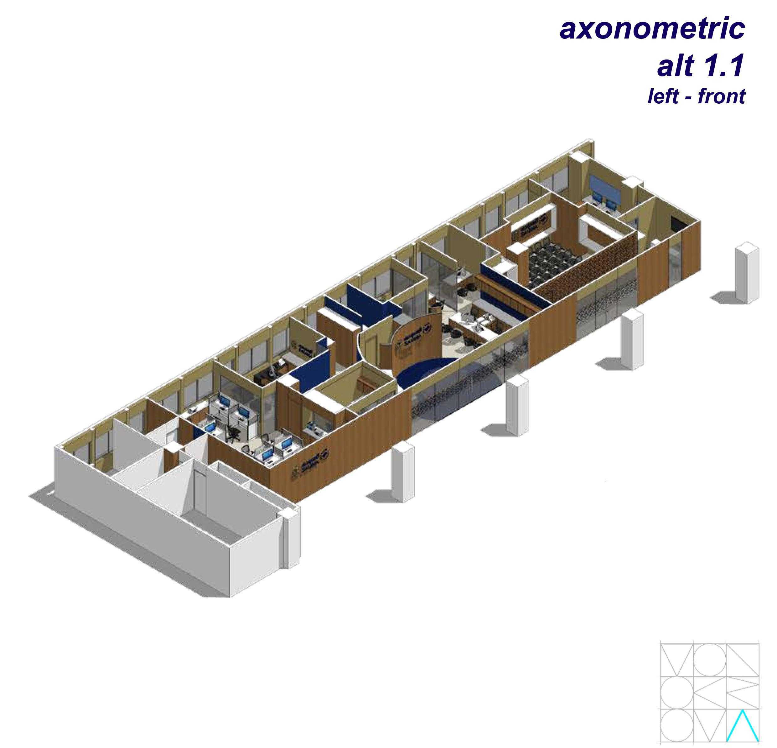 Monokroma Architect Saudi Arabian Airlines Office Soekarno Hatta Airport Terminal 3 Soekarno Hatta Airport Terminal 3 Axonometric-Alternative-1-1-Left-Front Modern  14730