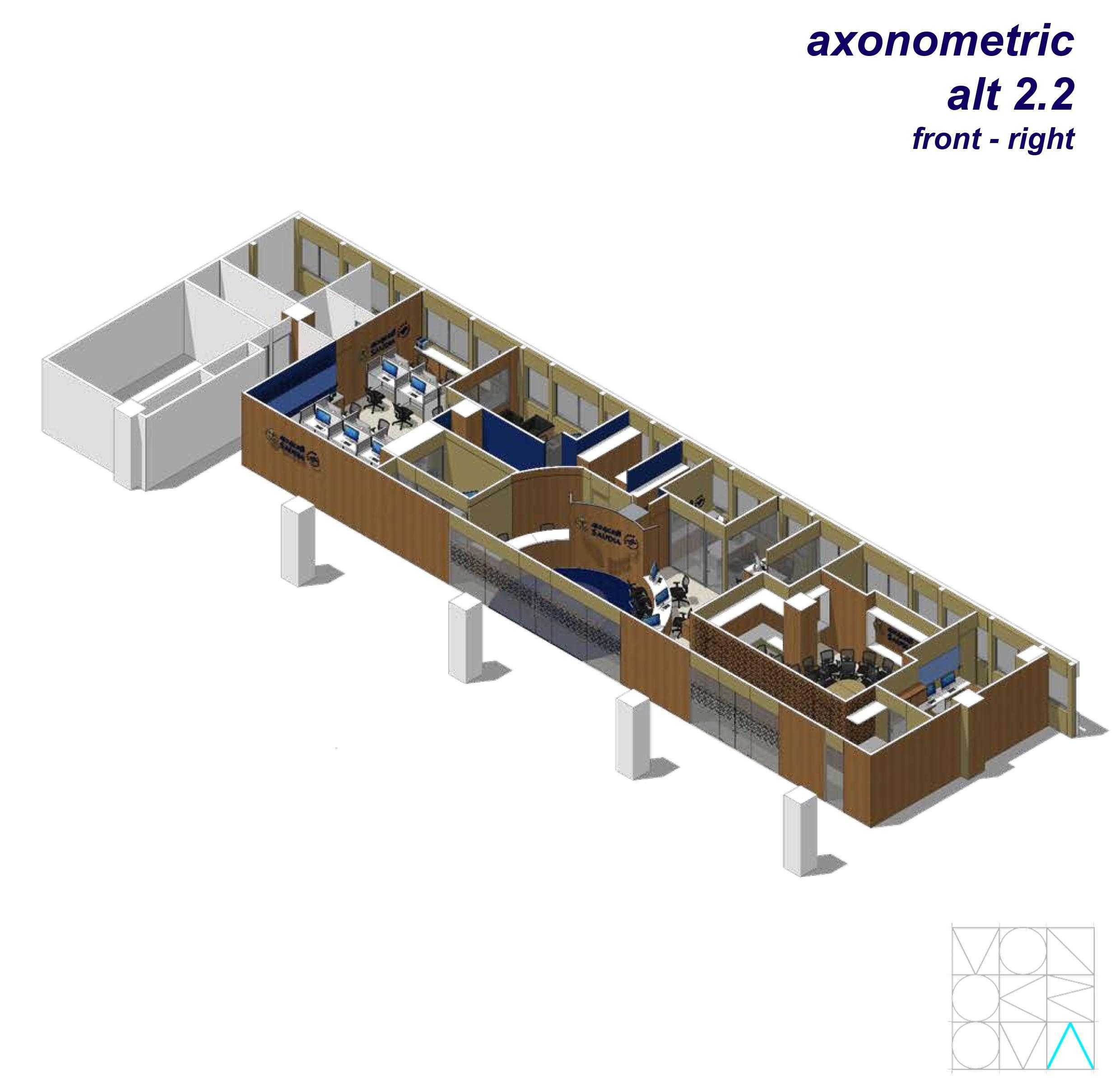 Monokroma Architect Saudi Arabian Airlines Office Soekarno Hatta Airport Terminal 3 Soekarno Hatta Airport Terminal 3 15-Axonometric-Alternative-2-2-Front-Right Modern  14737