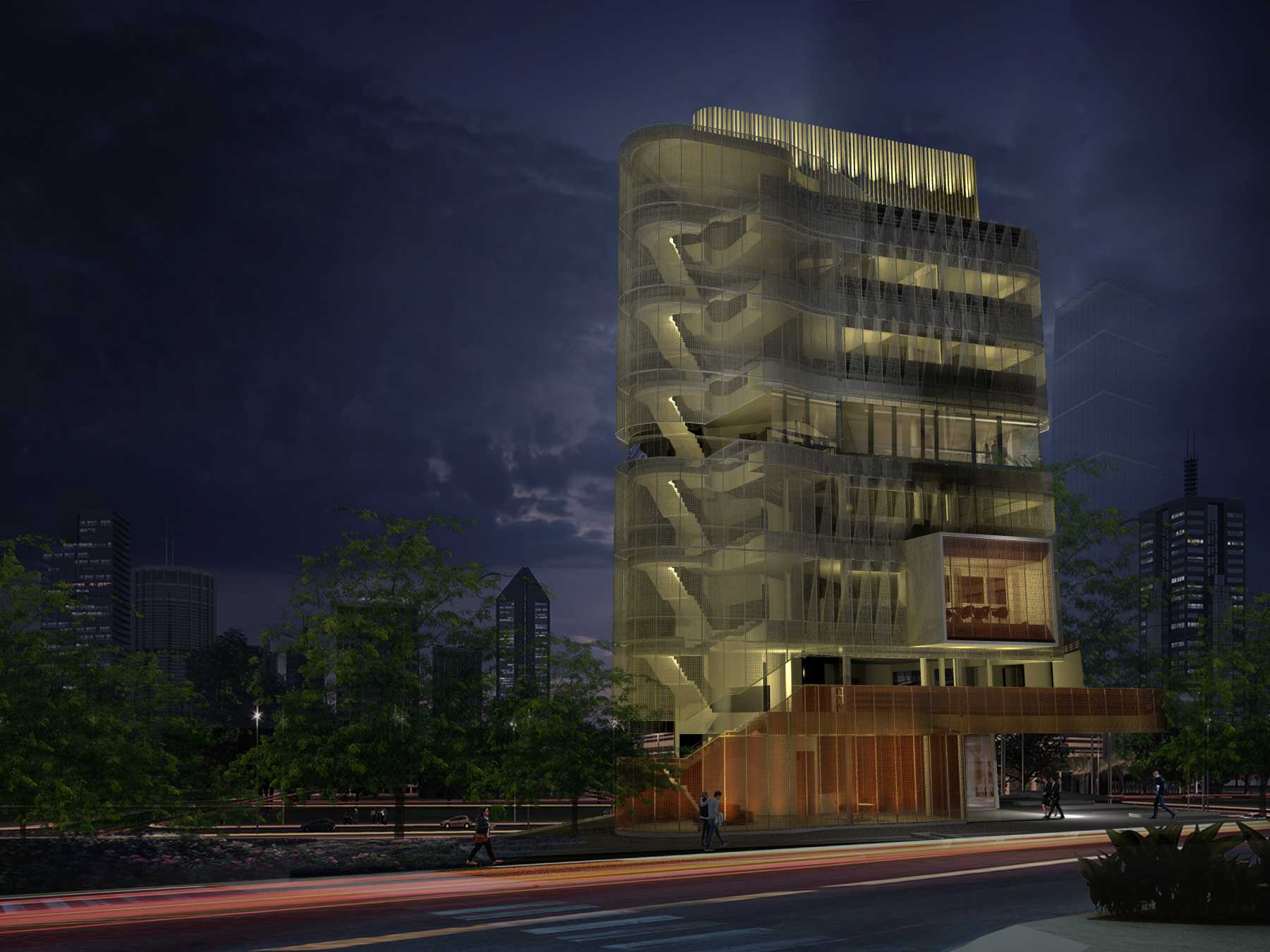 Monokroma Architect Eku Headquarter Jakarta Jakarta 3-Night-Perspective Modern  14788