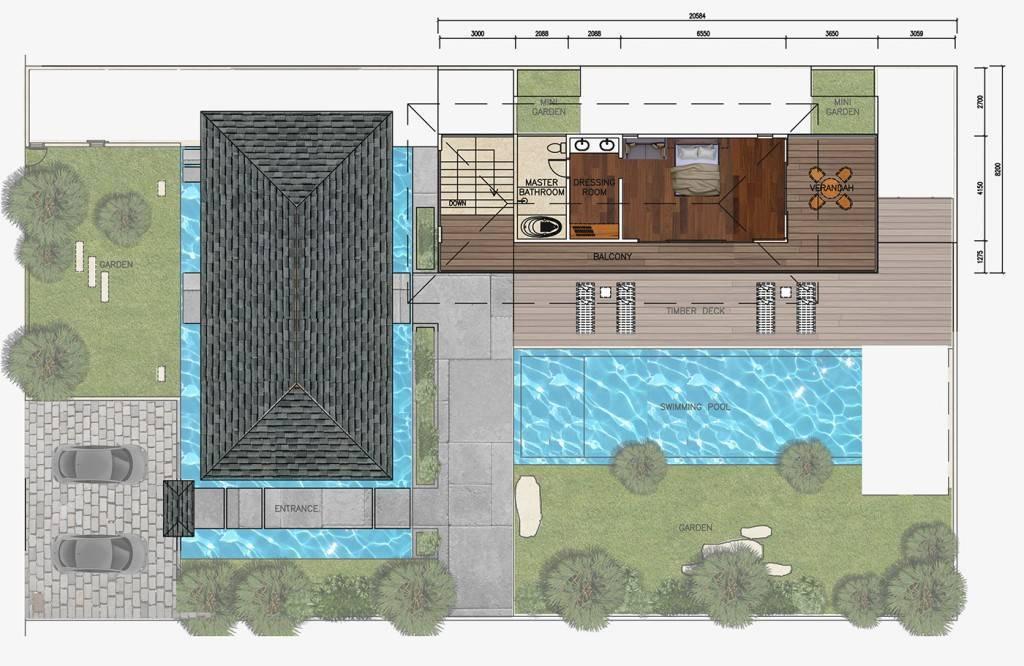 Civarch Design Studio Jimba Villa At Umalas Bali, Indonesia Bali, Indonesia Upper-Floor-2 Tropis  5682
