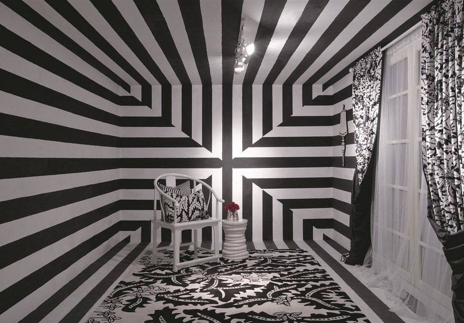 Iwan Sastrawiguna Soft Furnishings In Batik-Monochrome Coordination Jakarta, Indonesia Jakarta, Indonesia An-Optical-Illusional-Entry Modern <P>I Am Always Obsessed With Stripe. In This Room, I Was Trying To Create An Optical Illusion By Using Soft Furnishings As Elements To Have Playful Monochrome Coordination And Leafy Tribal Fusion.</p> 6570