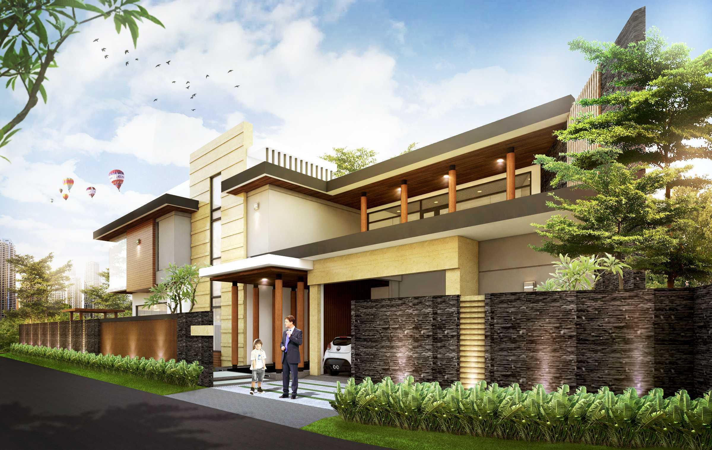 Hendra Budi Architect Privat House Tangerang Tangerang Tangerang Front View - Render Modern  16354