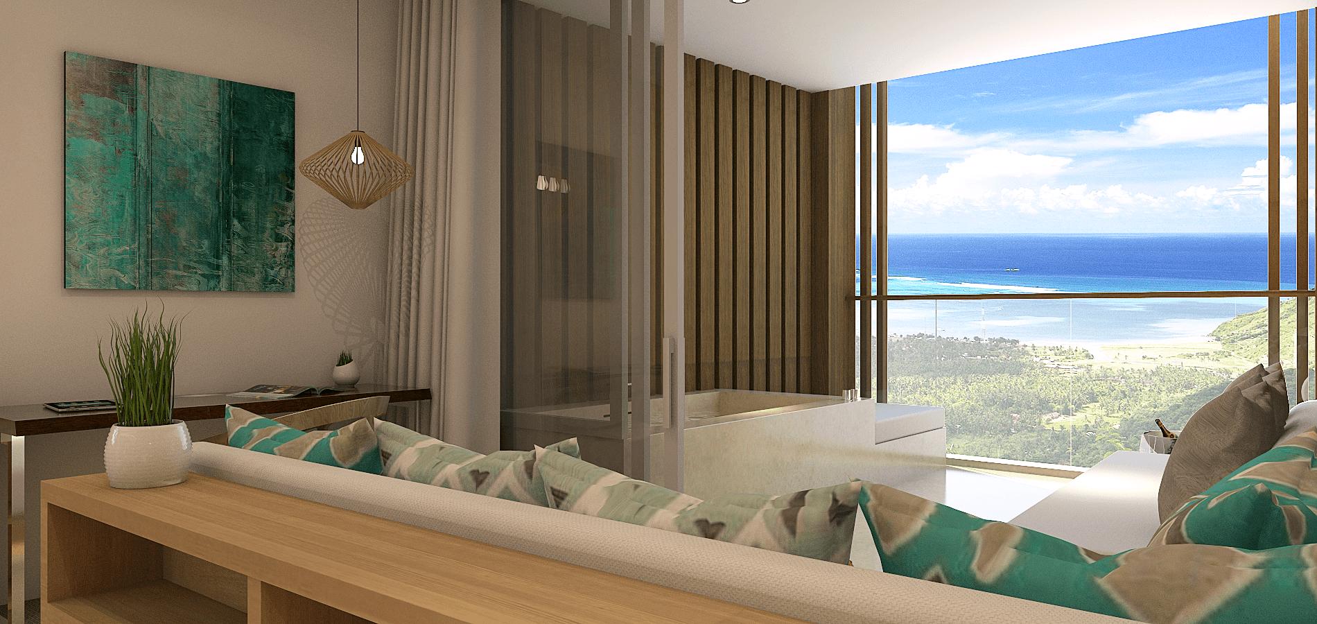 Pt. Indodesign Kreasi Mandiri Lombok Hotel South Lombok Kuta South Lombok Kuta Livingroom View Kontemporer <P>View From Hotel Room</p> <P>Kuta Bay</p> 16081