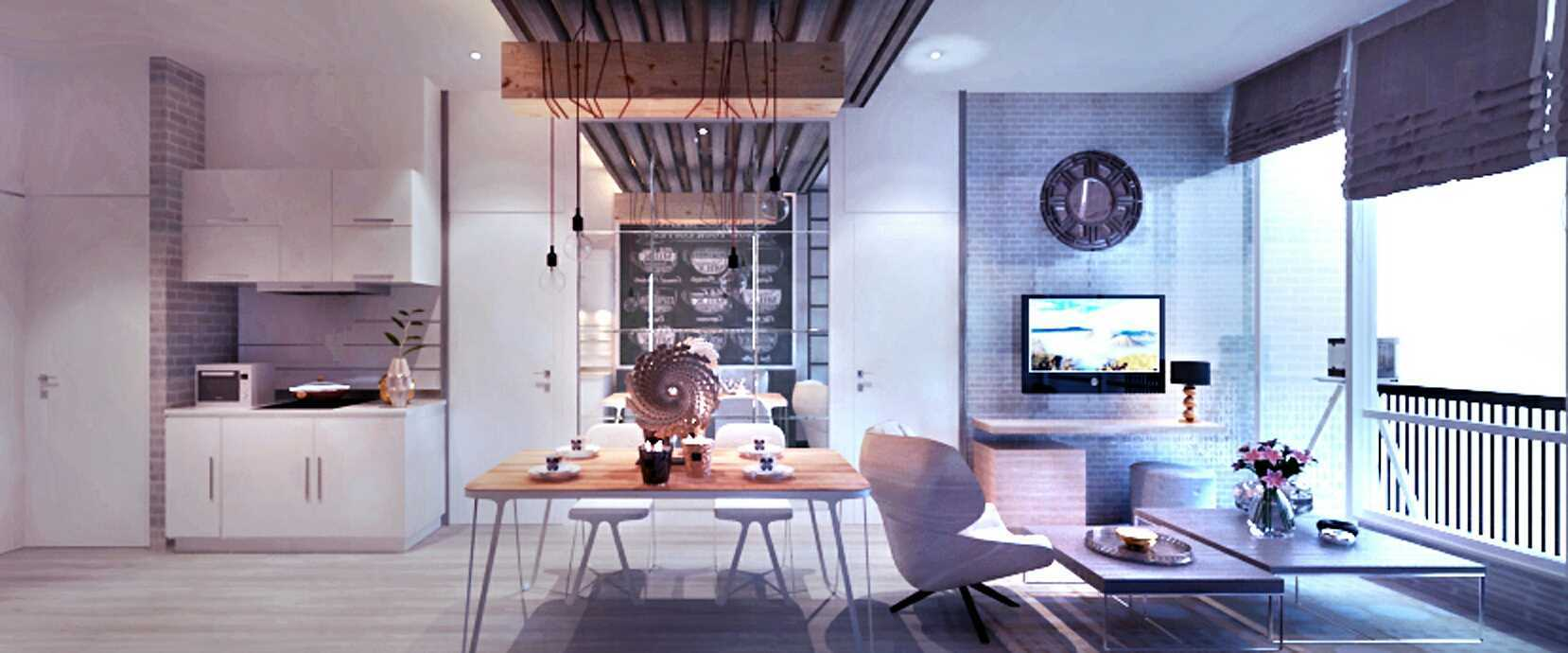 Rinto Katili, S.s.n, M.m Industrial Style Apartment Jakarta Jakarta Small Industrial Apartment_View To Pantry Industrial  24816