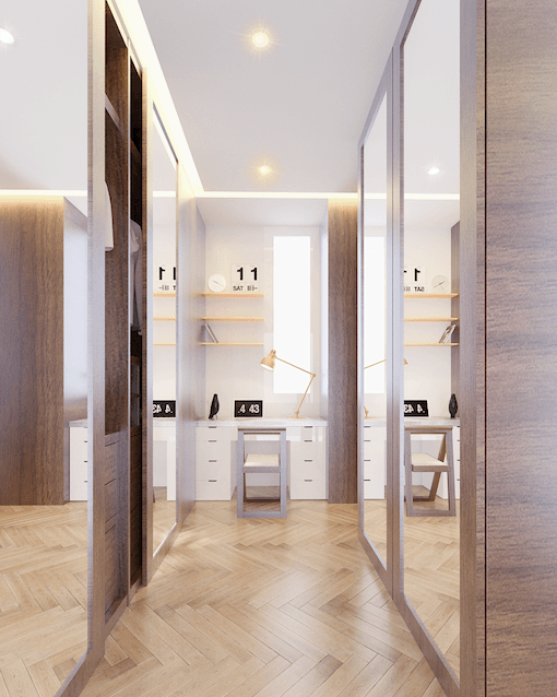 Mimo Home Interior Design & Build Private Residence At Darmawangsa Jakarta, Indonesia Jakarta, Indonesia Walk In Closet  Maximizing The Whole 15Sqm To Create A Spacious Walk-In Wardrobe As Well As A Hidden Study And Vanity Table. 29193