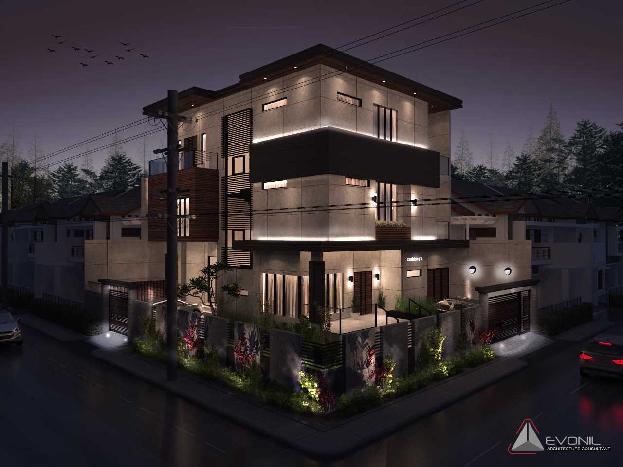 Evonil Architecture Residence Pluit Timur Pluit, Jakarta Pluit, Jakarta Exterior-Night-Lighting-Residence-Pluit-Timur Asian  13027