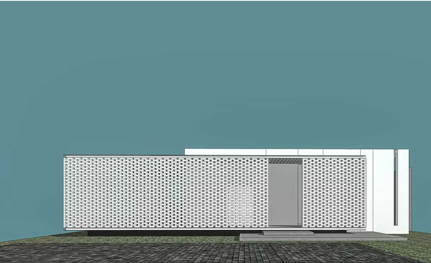 Eben White Perforated Brick House Bandung Bandung Front View Concept Modern,tropis  18654
