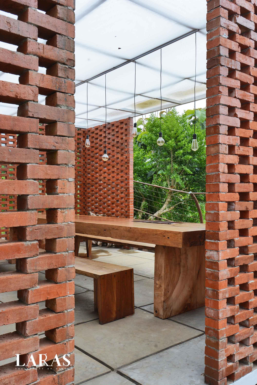 Eben White Perforated Brick House Bandung Bandung Dining Room Entrance Modern,tropis  29649