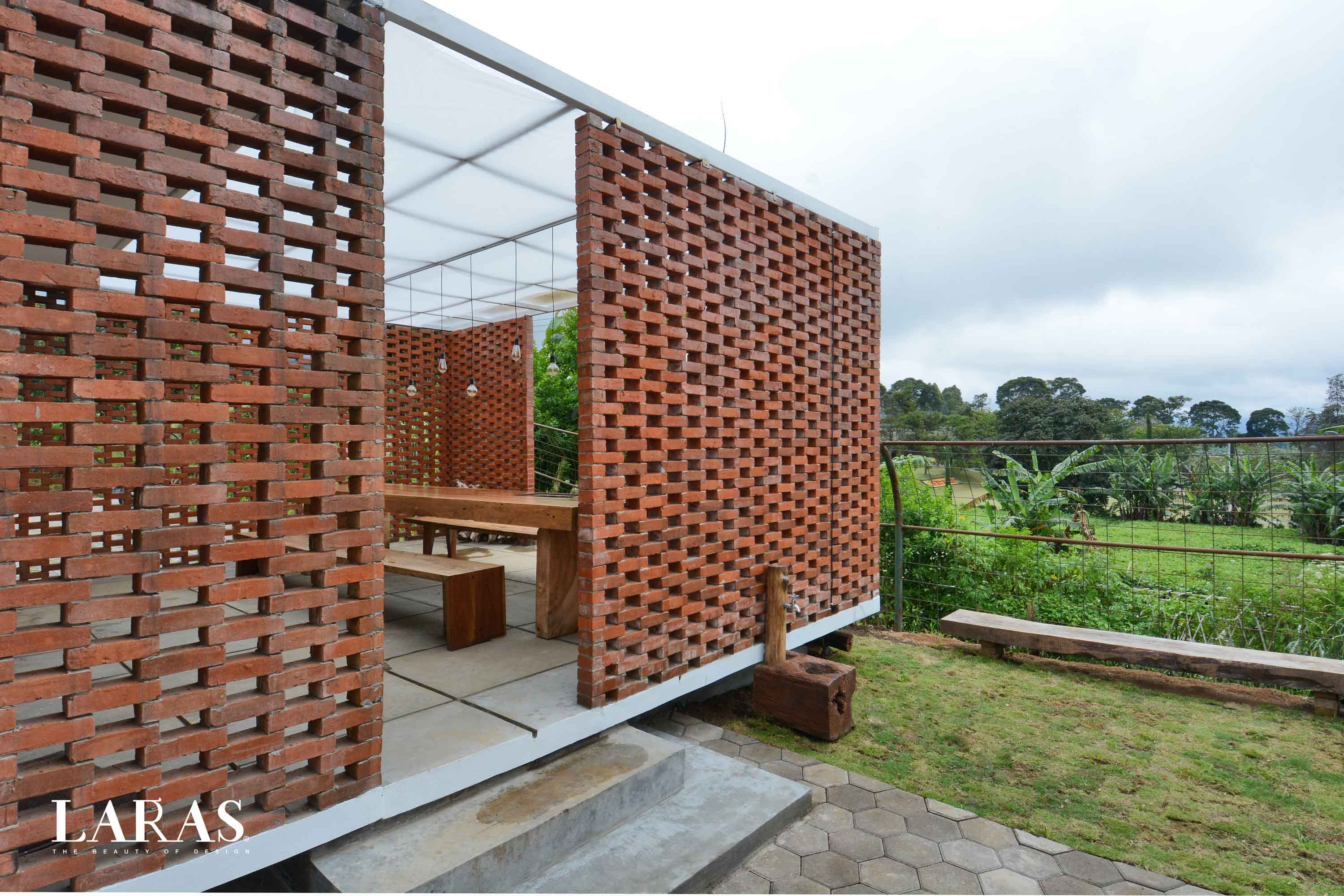 Eben White Perforated Brick House Bandung Bandung Backyard Modern,tropis  29663