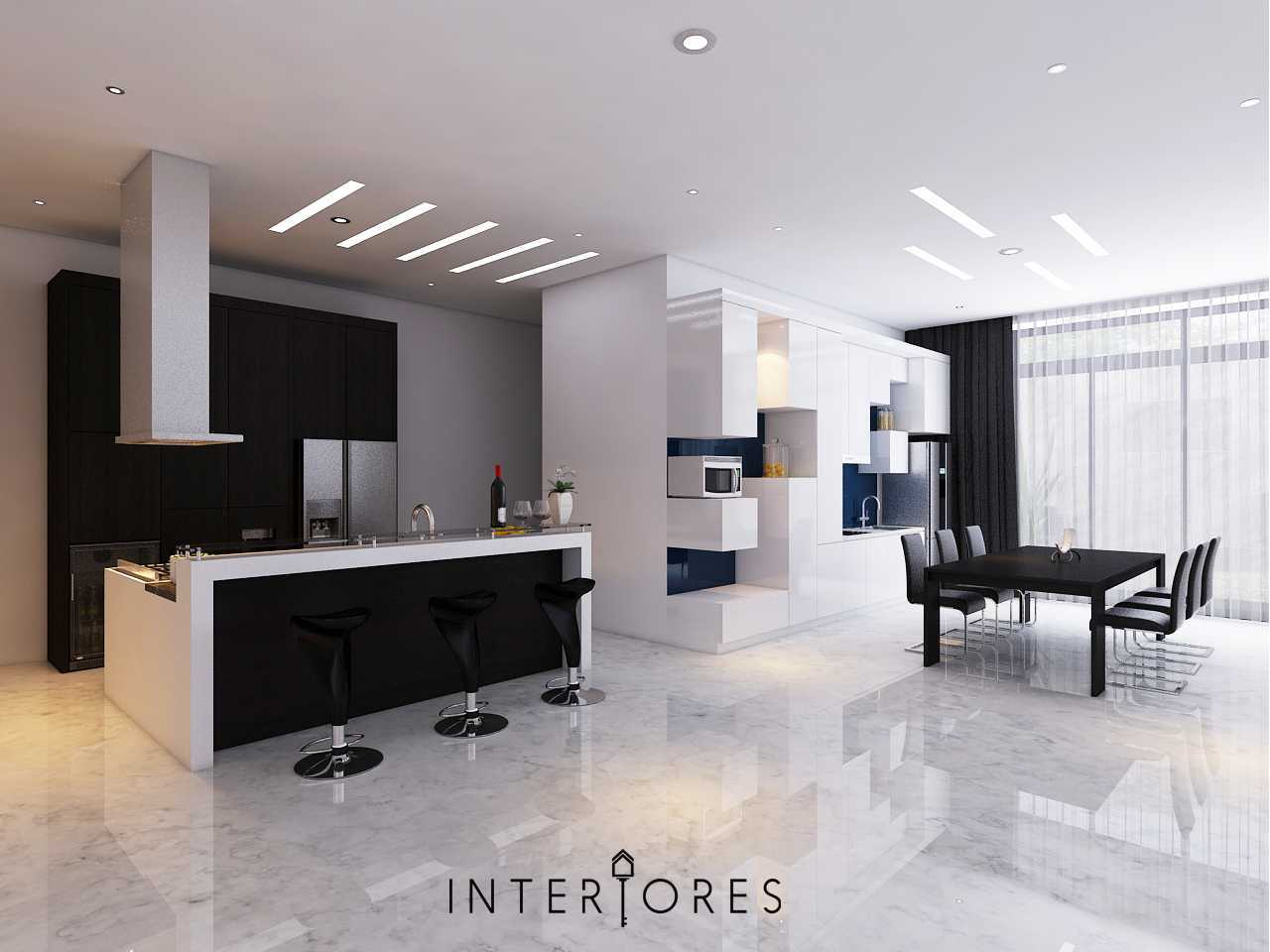 Interiores Interior Consultant & Build Sutera Onyx Alam Sutera Alam Sutera Dapur-Kotor-Dapur-Bersih Modern  17710