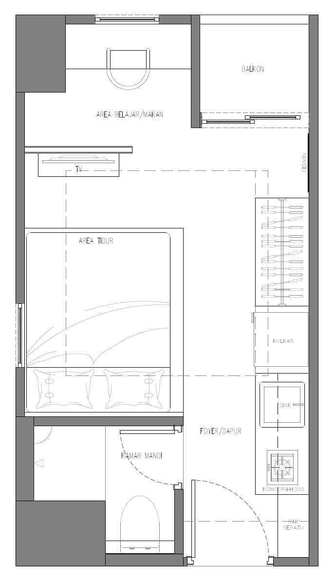 The Ground Market Belmont Residence Studio Apartment Jakarta, Indonesia  Floorplan   34162