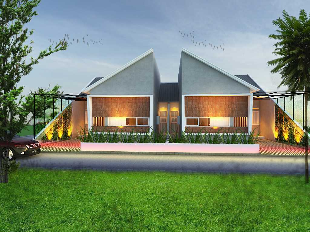 Studio Mifanolu Tj Couple House Kabupaten Deli Serdang, Sumatera Utara, Indonesia Kabupaten Deli Serdang, Sumatera Utara, Indonesia Front View Rendering Tropical,tropis  39685