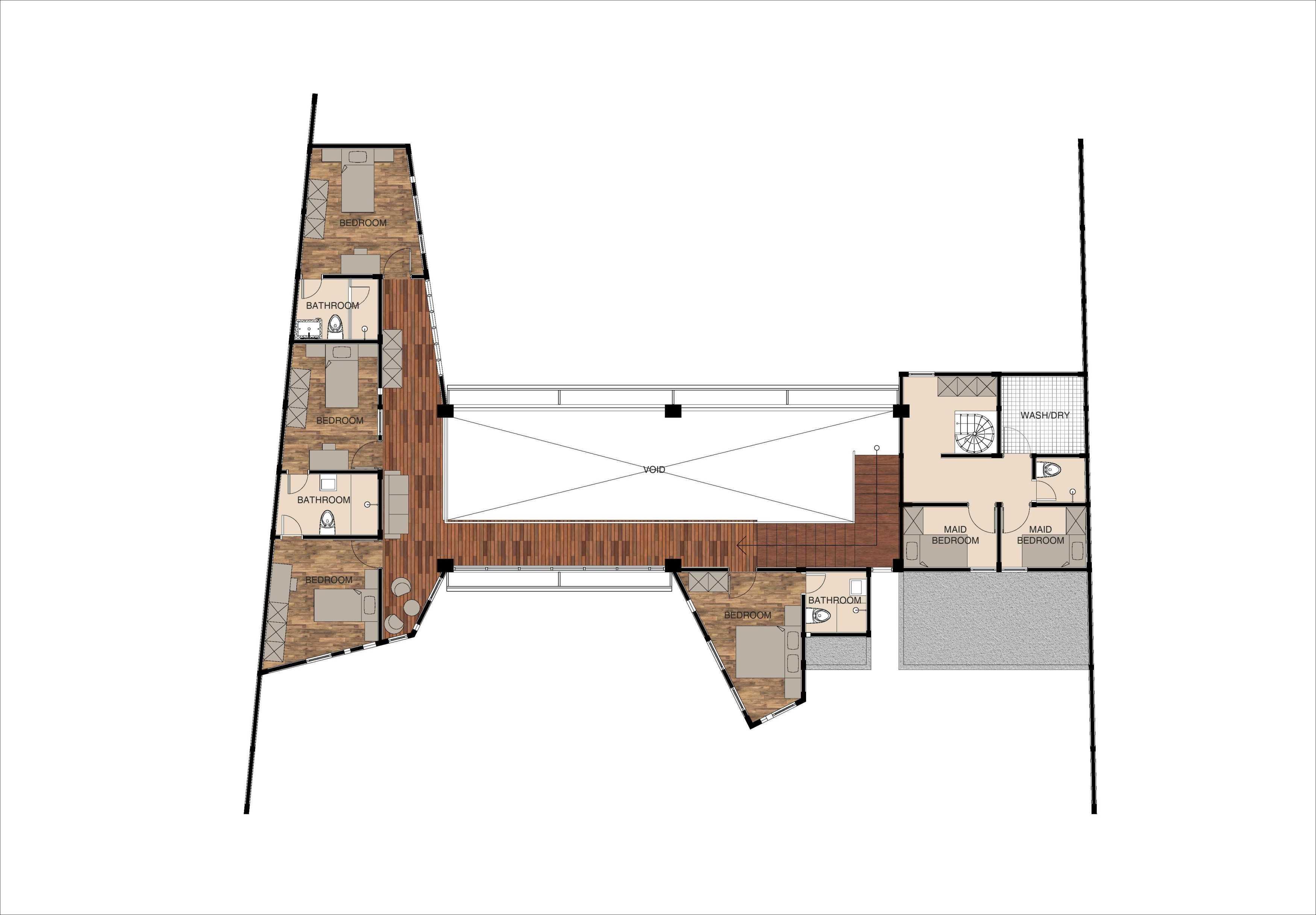 Mahastudio & Partner Oblique House Jati Asih, Bekasi Jati Asih, Bekasi 2Nd Floor Plan Kontemporer  25626