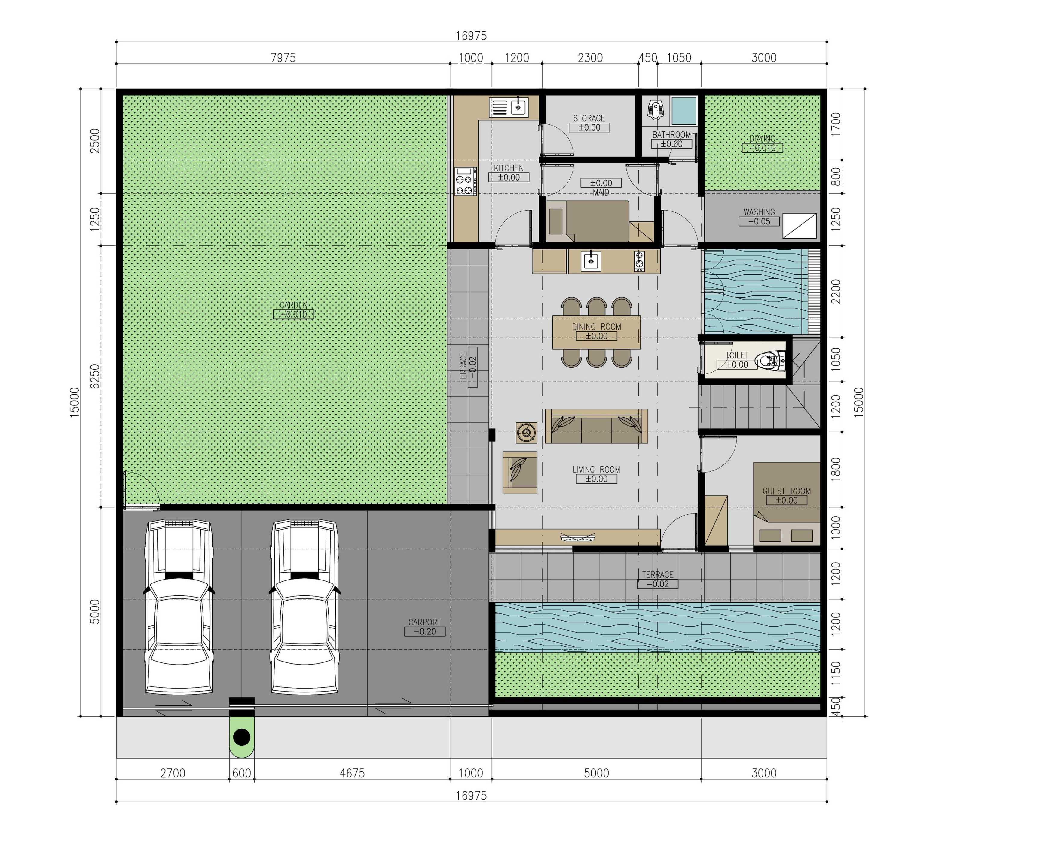 Mahastudio & Partner Renovasi Rumah Beiji Depok City, West Java, Indonesia Depok City, West Java, Indonesia Denah Lt.1 Tropis  33339