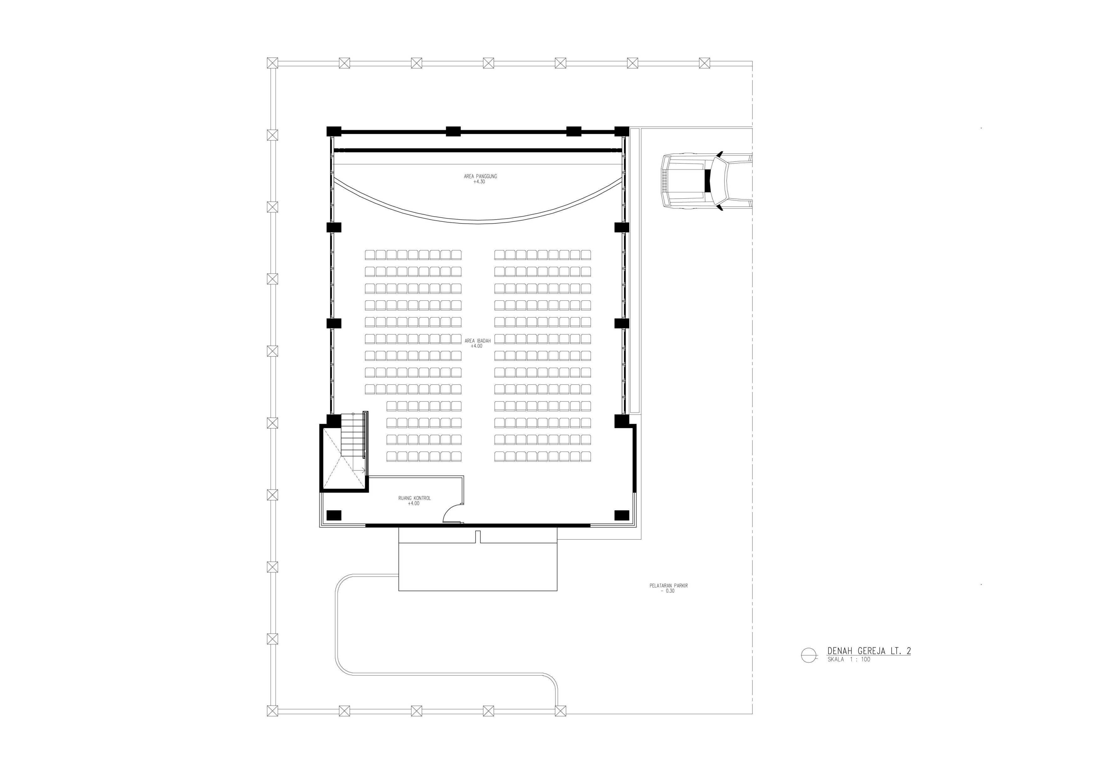 Amorta Design Studio Gereja Shekinah Teluk Bintuni Papua Teluk Bintuni Papua Denah-Gereja-Shekinah-Lantai-02 Modern  29382