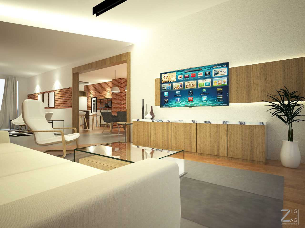 Zigzag Architecture Studio Pulomas House Daerah Khusus Ibukota Jakarta, Indonesia  Living-Room-View01   37606