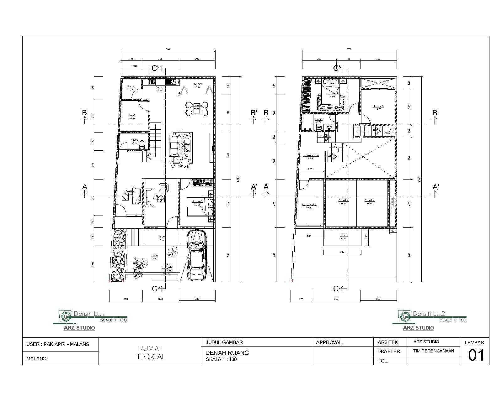 Arz Studio Pekerjaan Renovasi Rumah Bapak Apri  Singosari, Malang, Jawa Timur, Indonesia Singosari, Malang, Jawa Timur, Indonesia Denah-Ruang-Lt-1-2 Minimalis <P>Concept</p> 45348