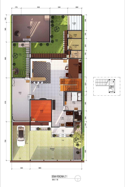 Archdesignbuild7 Rumah Tinggal 2 Lantai ( Minen )  Jl. Alfa Ii, Cigadung, Bandung Jl. Alfa Ii, Cigadung, Bandung Denah-Lt-Satu-Colour Tropis 20140