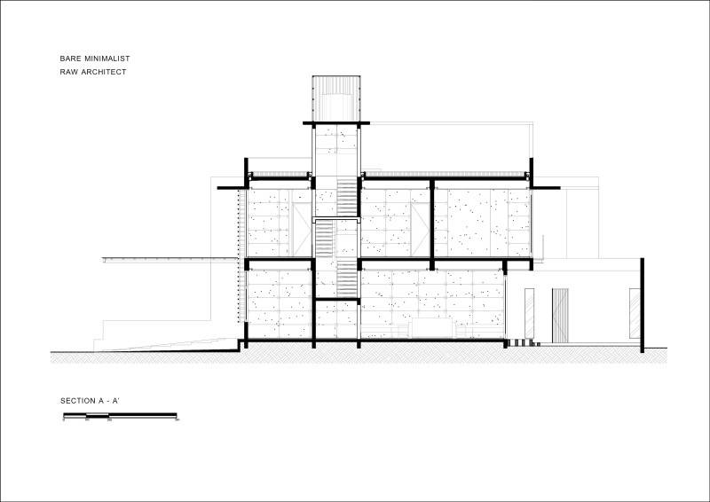 Raw Architecture Bare Minimalist Jakarta, Indonesia Jakarta, Indonesia Plan Section Elevation  1545