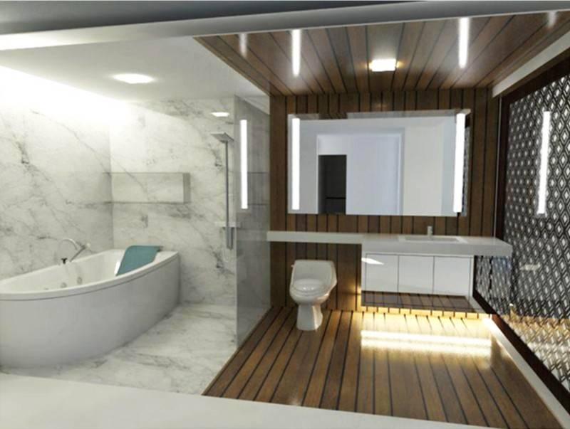 Foto inspirasi ide desain apartemen kontemporer Bathroom oleh TMS Creative di Arsitag