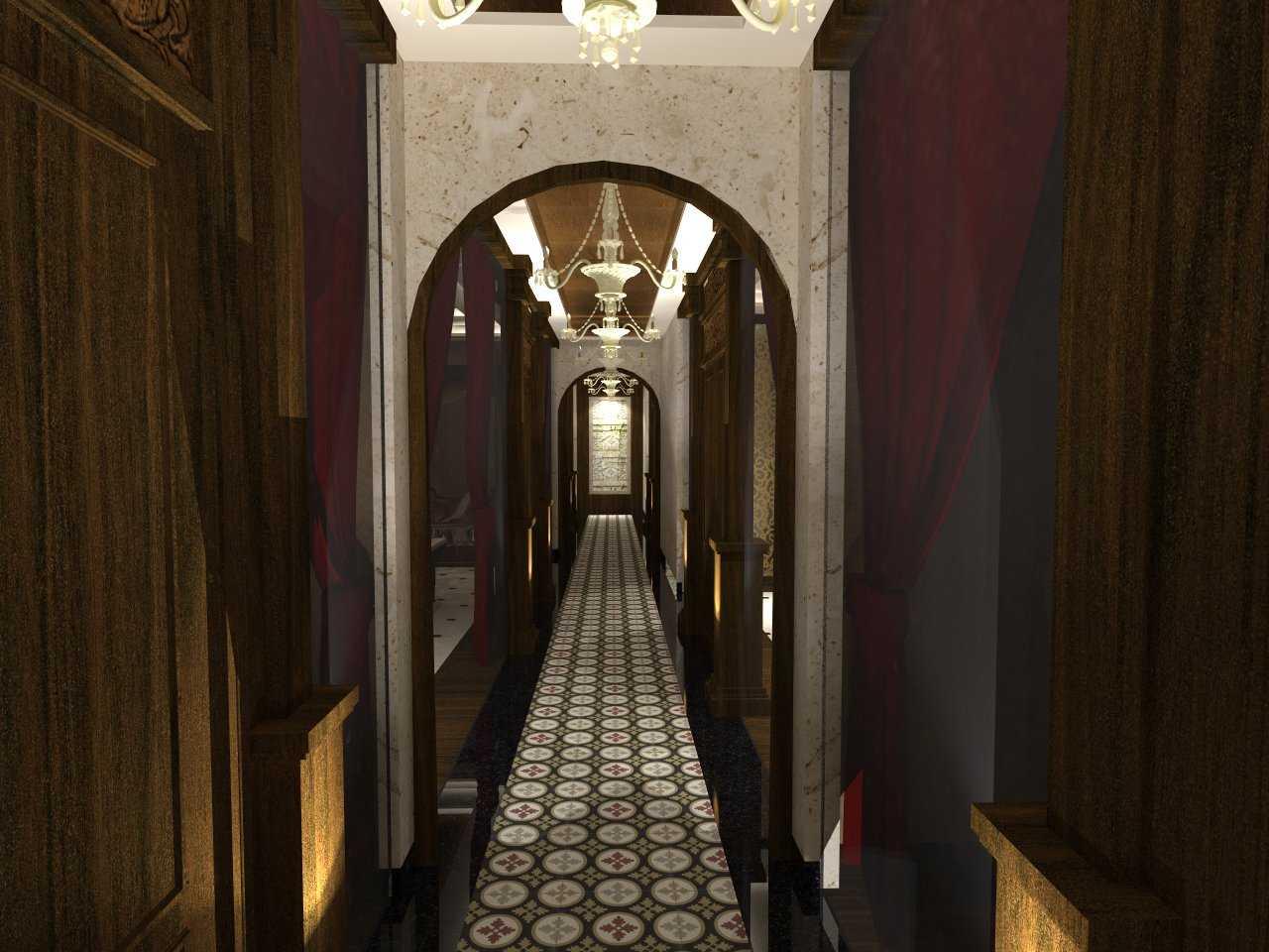 Foto inspirasi ide desain koridor dan lorong tradisional Hallway-view-b-final-02 oleh TMS Creative di Arsitag