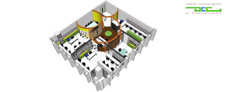 Foto inspirasi ide desain kantor industrial Plan oleh Atelier Cosmas Gozali di Arsitag