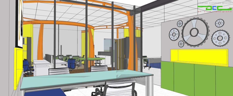 Foto inspirasi ide desain ruang kerja industrial Ruang direksi oleh Atelier Cosmas Gozali di Arsitag