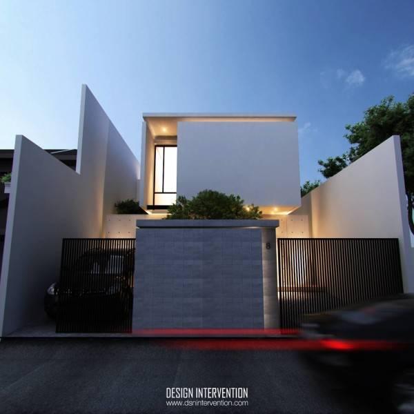 Foto inspirasi ide desain rumah minimalis Front view oleh DESIGN INTERVENTION di Arsitag