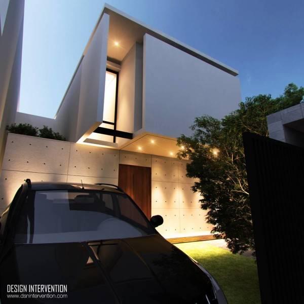Foto inspirasi ide desain garasi modern Facade view oleh DESIGN INTERVENTION di Arsitag