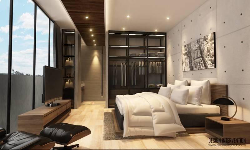 Foto inspirasi ide desain kamar tidur minimalis Bedroom oleh DESIGN INTERVENTION di Arsitag