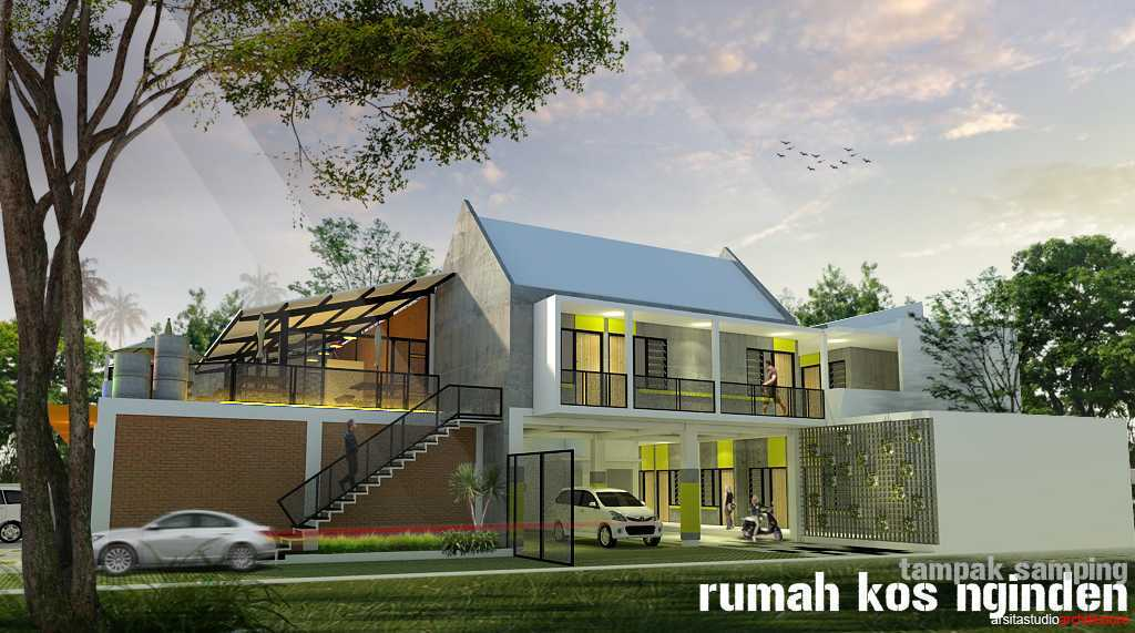Arsita Studio Architecture Rumah Kos And Cafe Surabaya, Jawa Timur Surabaya, Jawa Timur Tampak-Samping  19836