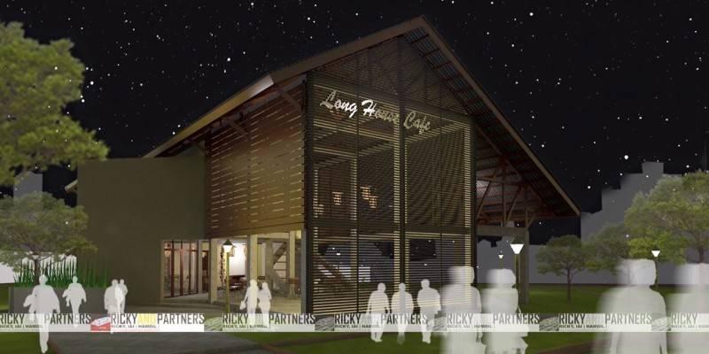 Rickyandpartners Architect Studio Long House Cafe At Pontianak West Kalimantan, Indonesia West Kalimantan, Indonesia Facade-View-At-Night Tradisional 3449