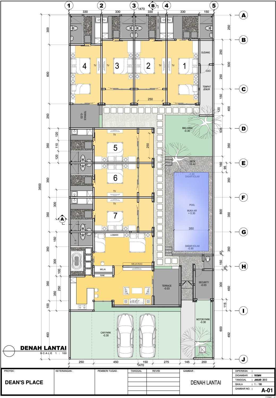 Foto inspirasi ide desain apartemen tropis Denah-warna oleh Dedy di Arsitag